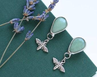 green aventurine earrings //nickelfree // moth