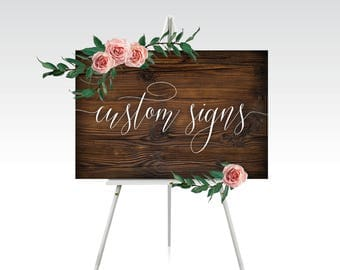 Custom Quote Printed Sign . Calligraphy Welcome Chalkboard Wood Watercolor . Any Wording, Font, Background . Printed Signs Frames & Easels