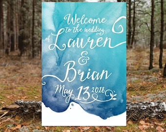 Custom Watercolor Quote Printed Sign . Calligraphy Welcome Chalkboard Wood . Any Wording, Font, Background . Printed Signs Frames & Easels