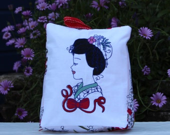 Machine Embrodery,Home Decor,Geishas,Japanese,Door Stop