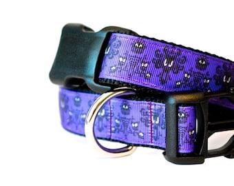 "Purple Dog Collar, Haunted Wallpaper Dog Collar, Haunted House Dog Collar, Ride Inspired Dog Collar, 1"" thick collar, breakaway collar"