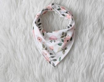Organic Floral Bib / Organic Bandana Bib / Knit Bandana Bib