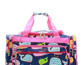 20 inch Whale Print Canvas Monogrammed Duffle Bag Hot Pink Trim
