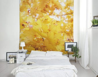 Yellow Leaf Tapestry, Autumn Wall Art, Tree Photo Tapestry, Tapestry Room, Fabric Wall Hangings, Tapestry, Wall Blankets
