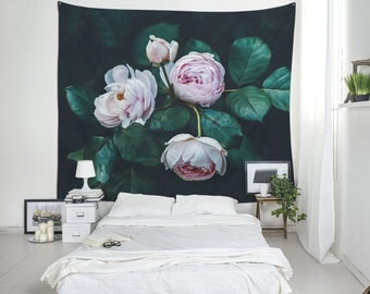 Roses Wall Tapestry, Pink Roses Print, Large Floral Tapestry, Interior Decoration, Polyester Tapestry, Wall Blanket, Dorm Wall Art. UL117