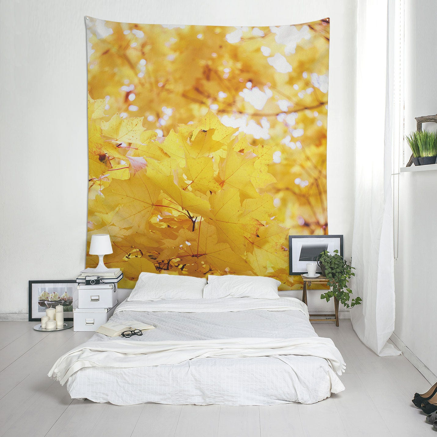 Yellow Leaf Tapestry Autumn Wall Art Tree Photo Tapestry