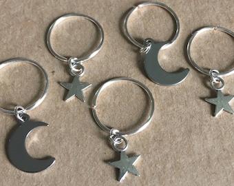 Moon and Star Hair Rings, Moon and Star Braid Rings