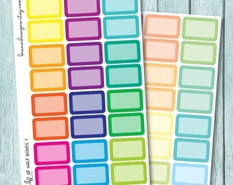 Rainbow Half Box Stickers, Multicolour Event Boxes, Functional Planner Stickers
