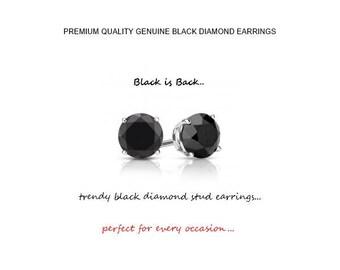 1.00 Carat Genuine Black Diamond Stud Earrings in 14K Gold