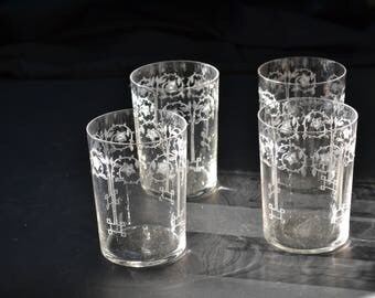 Antique Etched Drinking Glasses Old Vintage Glass Set of 4
