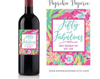 50th Birthday Gift Wine Labels, Lilly Pulitzer inspired, 50 Birthday Gift for Her, Milestone Birthday Wine Labels, Birthday Card