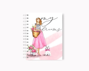 Pink notebook, Girly notebook, Dog notebook, Fashion notebook, Fashion journal, Dog journal, Dog art, Fashion art, Fashion illustration