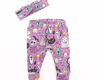 Baby Girl First Halloween Leggings and Headband - Newborn Halloween Set - Baby Girl Halloween Costume - Halloween Outfit - Ready to Ship