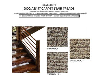 """13 Pc Set - 8""""x24"""" Dog Assist Carpet Stair Treads - STARLIGHT 