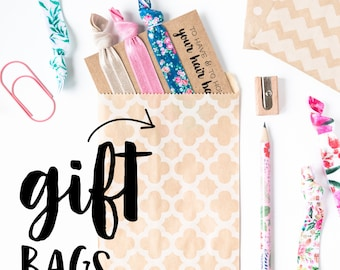 Gift Bags | Gift Packaging for Hair Tie Favors, Wedding Bridal Shower Favors, Birthday Party Small Gift Bags, Bridesmaid Gift Bags