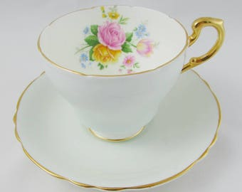 Paragon Tea Cup and Saucer with Flowers, Vintage English Bone China