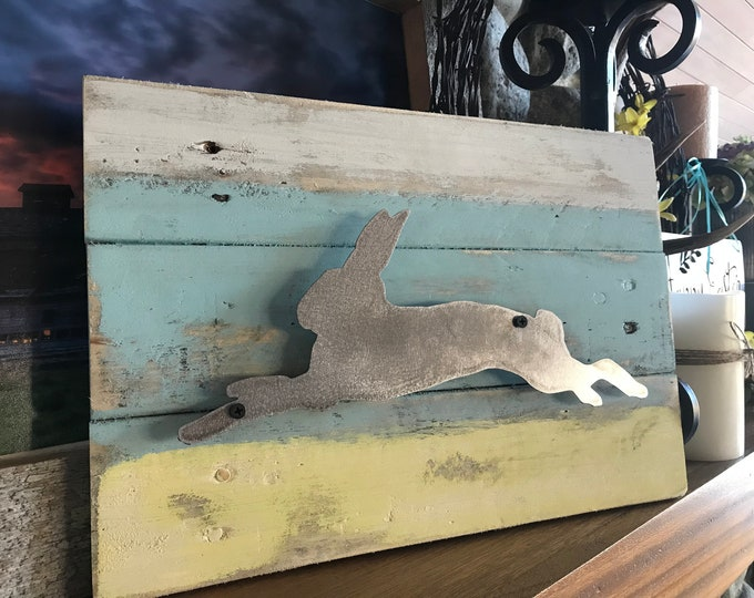 Easter Decor, Spring Decor, Farmhouse Bunny Decor, Rabbit Sign, Rustic Metal Sign, Rustic Decor, Farmhouse Sign, Easter Bunny Farmhouse Sign
