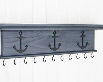 Key Holder Wall Shelf  Rustic Wood Handmade Wall Mounted 18 inch with Nautical Boat Anchors Gray Finish