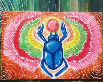 Scarab beetle / small original acrylic painting