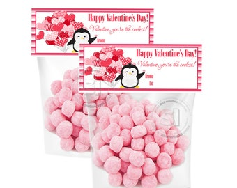 INSTANT DOWNLOAD-Valentine's Printable Bag Toppers- D.I.Y Tags- Heart Ballons & Penguine Valentine-2 printable sizes bag toppers