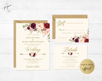 Burgundy Wedding Invitation Printable Wedding Suite Floral Marsala Wedding Invite Faux Gold Effect Gold Foil Bohemian Peony Wedding Blush