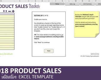 Product Sales Tracker - 2018 | Business Sales Report | Excel Category & Product Sales Template | Instant Digital Download