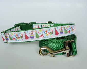 Happy Birthday Party Hat Dog Collar - Green