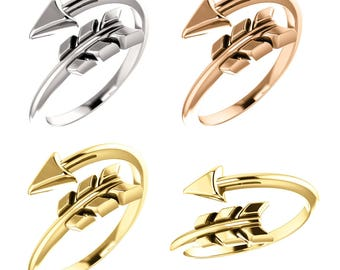 Trendy 14K Gold Arrow Ring, Available in Yellow, White or Rose Gold, USA SZ 7