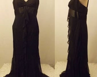 Vintage ABS Allen Schwartz Black Chiffon Evening Gown  Size 10