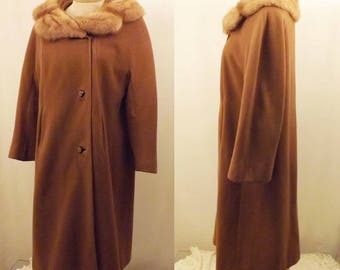 60s Pano Donn Mink Fur Trimmed Brown Wool Coat Size XL