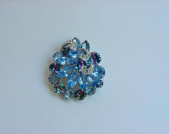 Eisenberg Rhinestone Brooch Pin Blue & Crystal Faceted Raised Cabochons Scrollwork Design Vintage Signed Costume Jewelry Prong Set