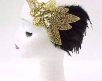 Black Gold Feather Headband 1920s Flapper Headpiece Great Gatsby Vintage 3218