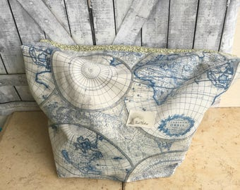 Huge Antique Map Knitting Project Bag - Toad Hollow bag, Crochet Project bag, drawstring bag, perfect gift for male knitter,gift for knitter