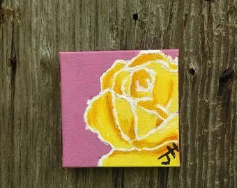"Acrylic painting on magnet canvas ""Rose"" #3 of 30"