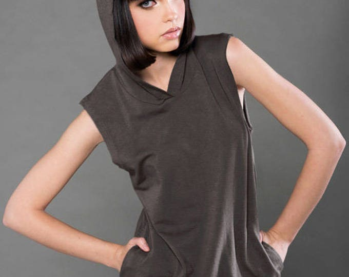 Wholesale Only -  Spandex French Terry Sleeveless Hoddie