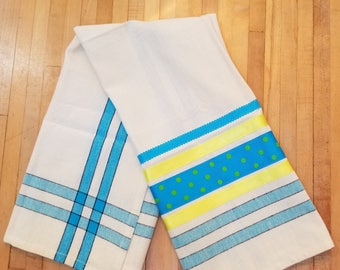 Embellished Hand Towel, Turquoise White Yellow, House Warming Gift, Kitchen Towel, Decorated Hand Towel, One of a Kind, MarjorieMae
