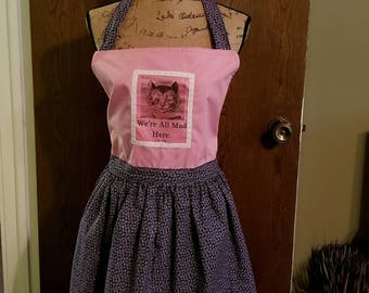 Cheshire Cat Apron, We're All Mad Here, Alice in Wonderland, Book Apron, Book Quote, Book Nook, Pink & Purple, MarjorieMae