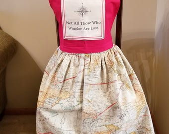 Not All Who Wander Are Lost Apron, Book Nook Apron, Book Quote Apron, Map Apron, Full Apron, Travel Apron, Ready to Ship, MarjorieMae