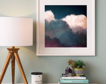 Cloudscape Painting, Fine Art Skyscape, Clouds Painting, Wall Art Print 'Nimbus' by Corinne Melanie Art