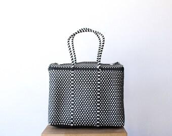 Black & White Handwoven Mexican Bag, Oaxaca Tote, Mexican Plastic Bag, Mexican Basket, Mexican Art, MexiMexi, Picnic Basket