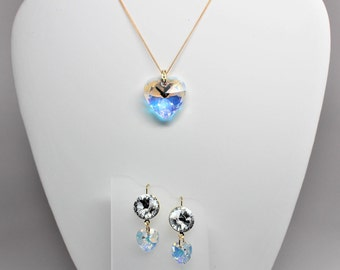 Swarovski Crystal Heart Necklace and Earring Set