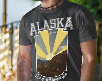 Alaska Shirts | Land of the Midnight Sun | Camping Shirt | Hiking Tshirt | Graphic Tee | Mountain T-shirt | Alaska Tshirt | Gifts For Him