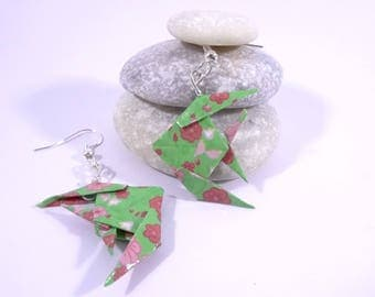 Green Origami fish with red flowers earrings