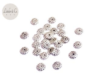 100 beads washers 6x2mm silver [RD02]