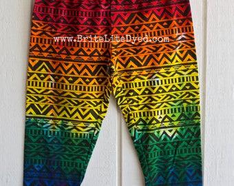 Womens Capri Leggings - Womens MEDIUM - Rainbow Leggings - Capri Leggings - Festival Leggings - Tye Dye Leggings - Tie Dye Leggings - Hippie