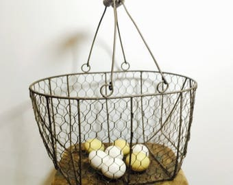 Wire Basket with Handles Vintage Egg Gathering Harvest Basket Chicken Wire with Wood Handles Rustic Cottage Farmhouse Decor
