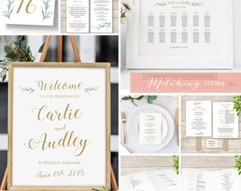 Wedding Stationery Set, Stationery Package, printable wedding templates. Custom. Wedding Programs, invitations, signs, seating plans etc