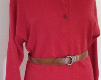 Vintage 80s Sweater dress jumper dress by St Michael knitted red dress with faux leather belt size large