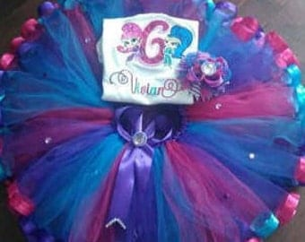 Shimmer and shine tutu set, shimmer and shine Birthday Outfit,Ribbon tutu