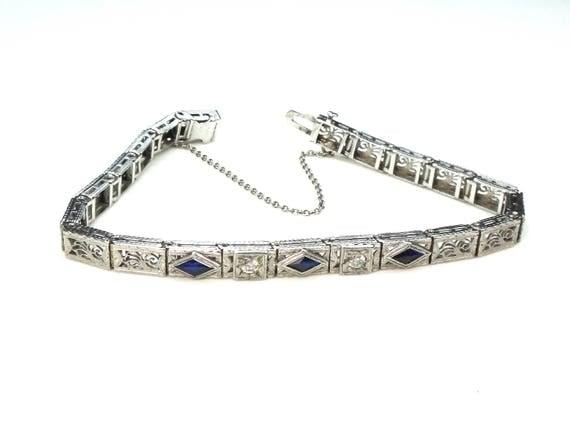 Art Deco Diamond Bracelet 14k White Gold with Platinum Top